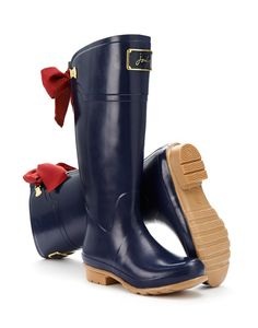 Joules Womens Premium Rain Boot Wellies, French Navy.  Want! Or the black and brown with mustard bow!!!