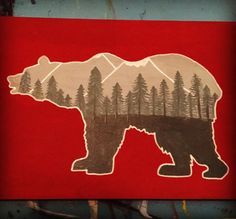 My painting of a bear silhouette filled with trees. Nature painting on a wooden plaque. Original acrylic artwork.