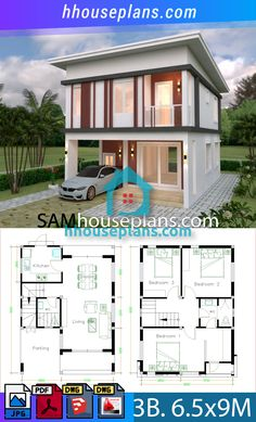 House plans with 3 bedrooms Flat roof - Sam House Plans House Fence Design, Two Story House Design, Roof Design, Small House Floor Plans, House Plans One Story, 3d Home Design, Home Design Plans, Flat Roof House, House Architecture Styles