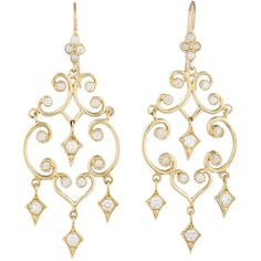 Pre-owned 1.36ctw Arabesque Diamond Earrings ($995) ❤ liked on Polyvore featuring jewelry, earrings, diamond, gold, diamond earrings, french hook earrings, preowned jewelry, diamond jewelry and diamond jewellery