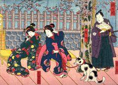 The Takino River (Takinogawa)with the Actors Miyaroku, Shinno, Hamaji from an untitled series of half-block scenes from kabuki plays