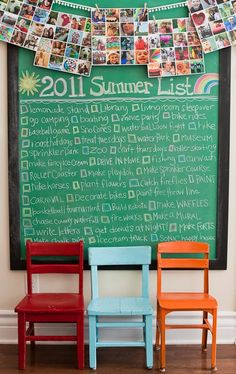 i bought a huge old picture from our churches basement thrift store in georgia and turned it into a chalkboard- totally doing this summer bucket list with the girls! so fun!!!