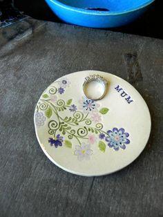 Custom Mom Ceramic Ring Dish Flower Plate Blue Pink by Ceraminic