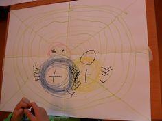 Schrijfdans Herfst: cirkels en lijnen. cd: Kleuterdans 5 nr. 25 t/m 27 Vouw het papier in vieren (rechte kruis) De ll. gaan met krijt over de vouwlijnen en tekenen zelf de diagonalen. De draden: je haalt je krijtje niet van het papier en 'plakt' de draad steeds stevig vast aan de spandraad. Met het afwijkende muziekje laat je de kinderen met beide handen met alle vingers over het papier lopen (spinnetjes lopen) Met cirkelmuziek maken ze de spinnetjes, pootjes, oogjes en natuurlijk een… Teaching English, Halloween, Drawings, School, Drawing Ideas, Hand Spinning, Sketches, Ideas For Drawing, Drawing