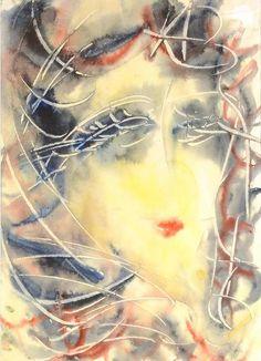 "ANATOLY ZVEREV (1931-1986) ""Head of a Woman"" , Watercolor. 2004, 2007, 2011 Dom Naschokina Art Gallery"