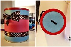 Easy to make homemade piggy bank/container to put anything in! All you need is construction paper, tape, double sided tape, ribbon and whatever decorating items you want to use. Simple, fast,cute and a great way to recycle items!