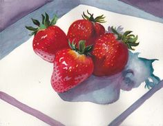 Bunny's Artwork: Strawberries Watercolor Painting February Challenge