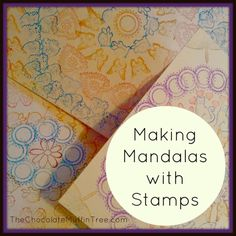 Printing Mandalas With Stamps - easy and low-mess printmaking art idea for kids