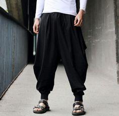 Cotton-Linen-Mens-Harem-Baggy-Pants-Japanese-Loose-Casual-Style-Boho-Trousers