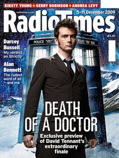 David Tennant (Tenth Doctor) cover of Radio Times 'Death of a Doctor' Second Doctor, Ninth Doctor, Doctor Who, Radio Times Magazine, Russell T Davies, Rude Words, Paul Mcgann, William Hartnell, Time Lords