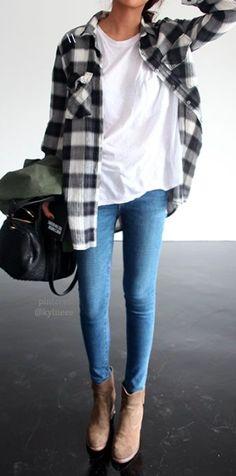 buffalo plaid + skinny jeans
