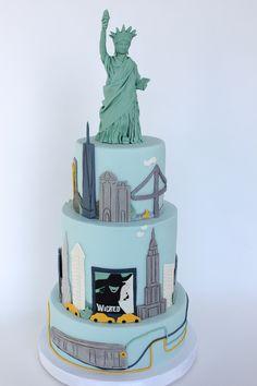 Village CakeCraft NYC: NYC skyline cake with edible Lady Liberty Sweet 16 Birthday Cake, 60th Birthday Cakes, 18th Birthday Party, Nyc Cake, City Cake, New York Party, New York Theme, Themed Wedding Cakes, Themed Cakes
