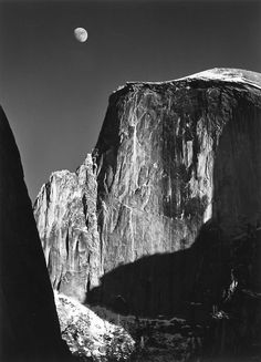 """Iconic photograph """"The half dome"""" (in Yosemite Park) by Ansel Adams, inventor of the """"Zone System""""- 1960. AL."""