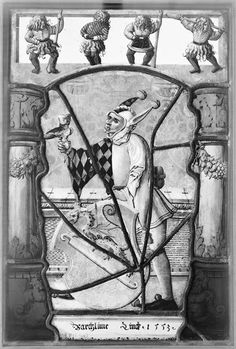 Stained glass: Jester with the arms of Bartholomew Linck, 1553