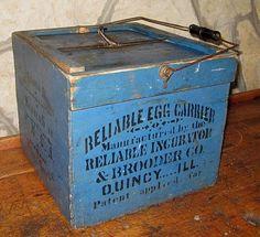 Antique Advertising Primitive Wood Egg Crate Carrier Box Old Blue Paint | eBay