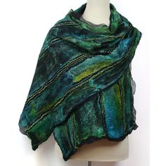Hand felted and hand dyed large silk and wool scarf. Made using nuno felting technique - technique that combined 100% silk chiffon fiber and Superfine