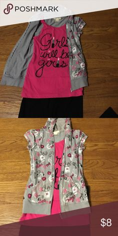 Tank/jacket Adorable one piece, pink girlie tank with grey jacket. Glitter wording and long tank make it totally trendy!! Belle Du Jour Shirts & Tops Tees - Short Sleeve