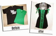 Refashion Co-op: Old T-Shirts into a Halloween Costume.or a freakin adorable tu… Refashion Co-op: Old T-Shirts into a Halloween Costume.or a freakin adorable tunic! Diy Cut Shirts, Old T Shirts, T Shirt Diy, Tee Shirt Crafts, Band Shirts, Diy Clothes Refashion, Shirt Refashion, Refashioned Clothes, Shirt Alterations