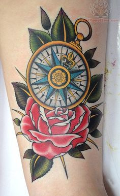 Red Rose And Compass Tattoo On Sleeve