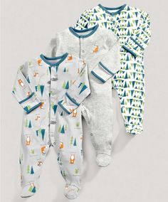 Boys Essentials Three Pack of Woodland Printed All in Ones - 3 For 2 Baby Basics - Mamas & Papas