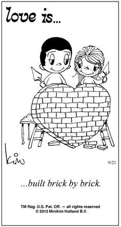 """Love Is... built brick by brick"""