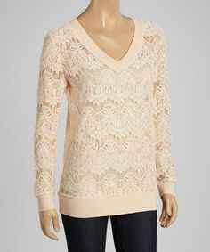 Another great find on #zulily! Coral Geometric V-Neck Sweater #zulilyfinds