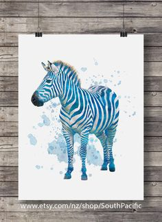 Zebra blue watercolor art print | Zebra  | Zebra watercolor | Printable wall art | Safari decor | Jungle animals | African animals by SouthPacificPrints, $5.00 USD