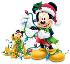 Mickey n Pluto hanging up Christmas lights
