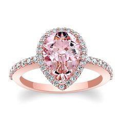 Barkev's 14k Rose Gold Morganite and Diamond Halo Engagement Ring
