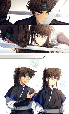 Kudo x Heji Manga Anime, Anime Guys, Anime Art, Ran And Shinichi, Kudo Shinichi, Conan Movie, Detektif Conan, Heiji Hattori, Conan Comics