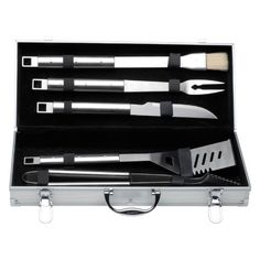 BergHOFF Cubo 6 Piece BBQ Set in Case by Berghoff. $74.99. Matt finish barbecue set. Dimensions: 19.69L x 8.43W x 3.67H in.. Handles are made of durable stainless steel. Dishwasher-safe. Includes brush, knife, slotted turner, meat fork. A perfect barbecue demands the right kind of barbecue equipment. The BergHOFF Cubo 6 Piece BBQ Set In Case includes a small brush, barbecue knife, slotted turner, meat fork, tongs and an aluminum carrying case. The pieces have a stylish matt f...