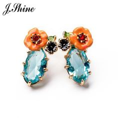 Pink Blue Crystal Flower Stud Earrings For Women Glass Jewelry Vintage Acrylic Indian Jewelry Lovely Rhinestone #Affiliate
