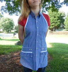 White pin stripes on Blue Apron with Ruffled Pockets  by jofaulk1, $24.00