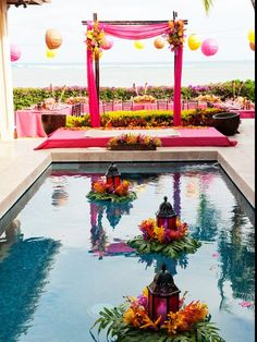 21 Wedding Pool Party Decoration Ideas For Your Backyard Wedding - pool decor Floating Lanterns, Floating Flowers, Candle Lanterns, Beach Ceremony, Wedding Ceremony, Reception, Pool Wedding Decorations, Floating Pool Decorations, Centerpiece Wedding