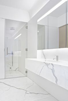 :: BATHROOMS :: beautiful white marble bathroom. The Templer Townhouse by Workshop for Architecture. Lovely mirror vanity storage above sink ...
