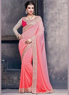 Salmon Pink Color Satin Sarees Online India ,Veeshack.com | Fashion for the World - 1 #Sarees #PartyWearSarees #Satin