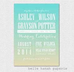 Ombre Printable Beach Wedding Invitation - Tiffany Ombre / Gradient Wedding Invitation