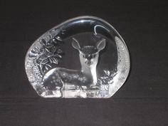 Vintage Swedish Deer Sculpture/Paperweight by Mats Jonasson, Målerås Glassworks, by DeeGeeRetro on Etsy