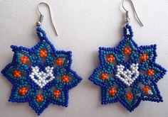 Mexican Huichol Beaded Star and Deer Earrings by Aramara on Etsy