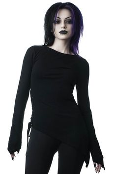 Killstar Mercury Rising TopAnother essential Gothic top from Killstar! The gorgeous Mercury Rising top has been made in a lovely soft stretch ribbed jersey and features an asymmetric hem, as well as corset inspired lace up detail on the waist. Neo Grunge, Grunge Style, Soft Grunge, Goth Style, Tomboy Style, Grunge Outfits, Gothic Outfits, Gothic Tops, Dark Gothic