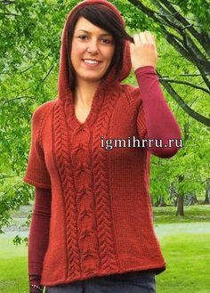 Свободный стиль. Красный шерстяной пуловер с капюшоном. Вязание спицами