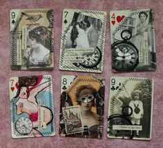 Altered Playing Cards by Shanda Panda I was going to do something with pkaying cards in the future too! Playing Card Crafts, Playing Cards Art, Atc Cards, Card Tags, Altered Books, Altered Art, Altered Tins, Collages, Art Trading Cards