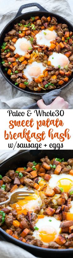 This skillet sweet potato hash with sausage and eggs is a filling savory healthy meal for any time of day. Sweet potatoes onions peppers and sausage with eggs cooked right into the hash its Paleo and friendly plus absolutely delicious! Whole 30 Vegetarian, Paleo Whole 30, Whole 30 Recipes, Whole Food Recipes, Healthy Recipes, Paleo Sausage Recipes, Easy Paleo Meals, Vegan Meals, Family Recipes