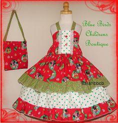 SALE  Disney Mickey Minnie Christmas Dress & Purse  by sarahBBCB, $39.00