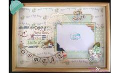 New born baby boy layout in a shadow box!!<3<3<3