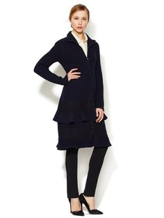 Tiered Lace Wool Coat by Valentino - stunning when fully zipped
