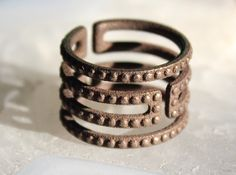 3D printed jewelry on shapeways site   Uruk Ring Studded - Size 6 by DotConstructor'