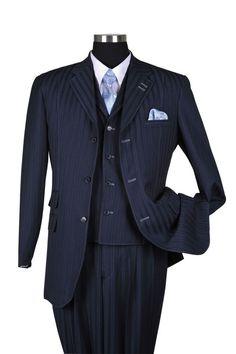 New Men's 3 piece Wool Feel Elegant and Classic Stripes Suit Navy 5267 #MilanoModa #ThreeButton