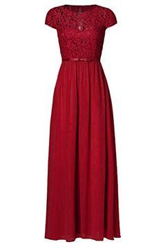 58b02d5fef50 Ssyiz Custom Women's Vintage Floral Lace Cap Sleeve Long Chiffon Bridesmaid  Evening Dress at Amazon Women's Clothing store: