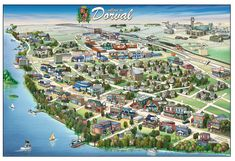 Pictorial map of Dorval - Dorval Canada Pictorial Maps, Life Map, Vermont, The Good Place, Real Life, City Photo, Dolores Park, Illustrated Maps, Canada